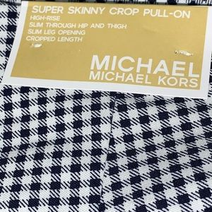 🆕MK Pull-on Skinny Crop Pant in Navy/White Check